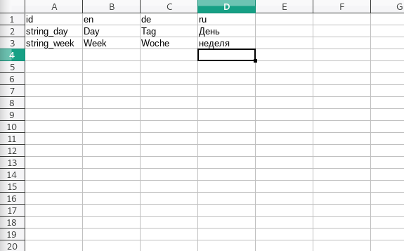 Spreadsheet structure for Godot localisation